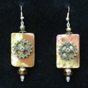 **New Hand Crafted** Golden Steampunk Earrings